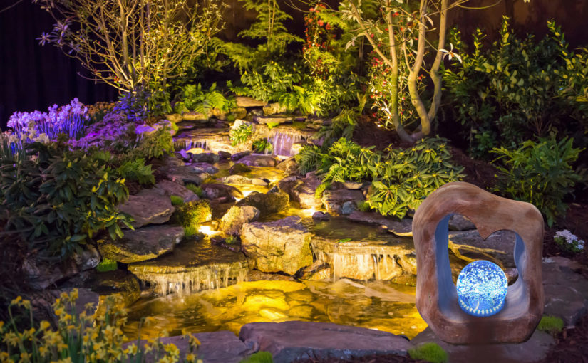 Brightly Lit Waterfall and Pond Stone Age Creations